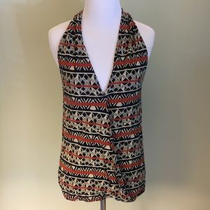 Lucky Brand Wrap Front Printed Tank